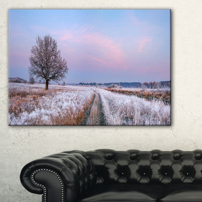 Designart Dry Oak Tree In Winter Panorama Canvas Art