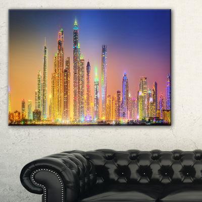 Designart Dubai Marina Skyscrapers Panorama Canvas Art