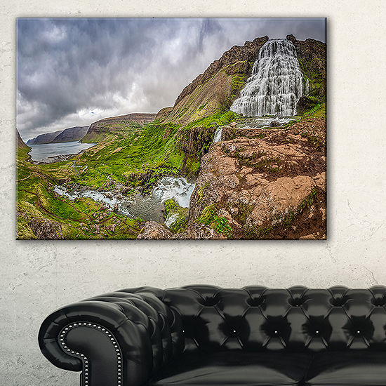 Designart Dyjandi Waterfall Iceland Panorama Canvas Art