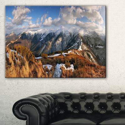 Designart Mountains With Sun At Vratna Valley Canvas Art