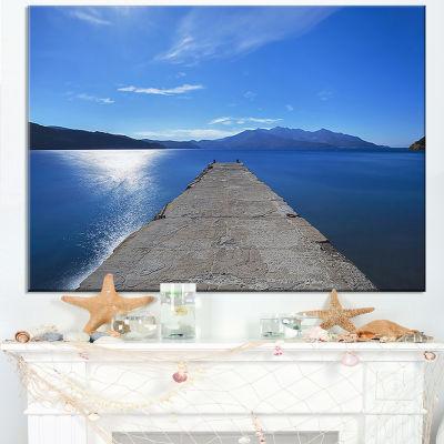 Designart Elba Island Pier And Capanne Mountain Canvas Art
