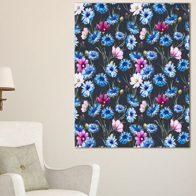 Designart Multi Color Corn Flowers Canvas Art