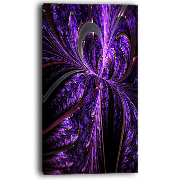 Designart Embossed Dark Purple Floral Shapes Canvas Art