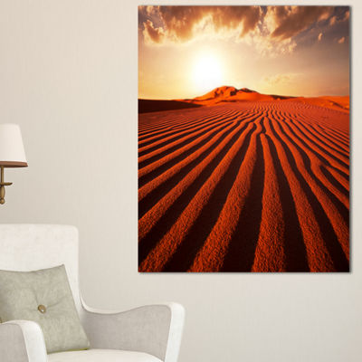Designart Endless Brown Desert Dunes Canvas Art