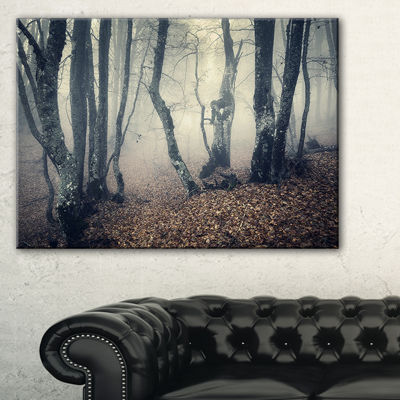 Designart Mystical Yellow Fog In Fall Forest Canvas Art