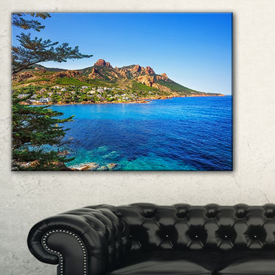 Designart Esterel Rocks Beach Coast In Blue Canvas Art