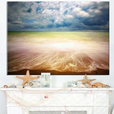 Designart Exotic Beach On Cloudy Summer Day Canvas Art