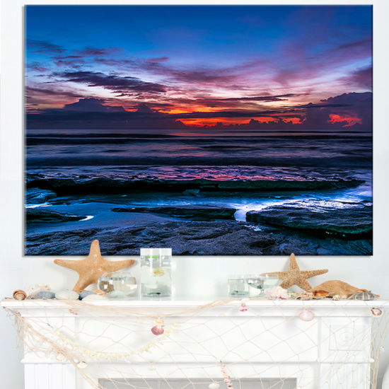 Designart Exotic Dark Blue Coquina Dawn Canvas Art