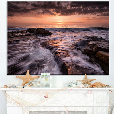 Designart Exotic Flow Of Waters Over Rocks Canvas Art