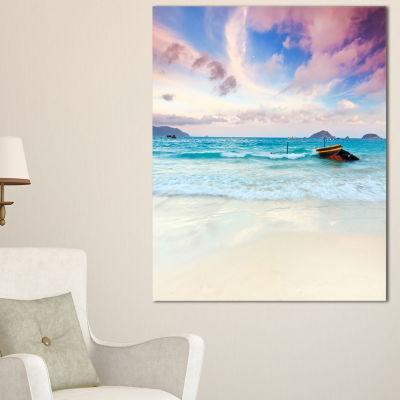 Designart Exotic Seashore Sunset Over Blue Sea Canvas Art