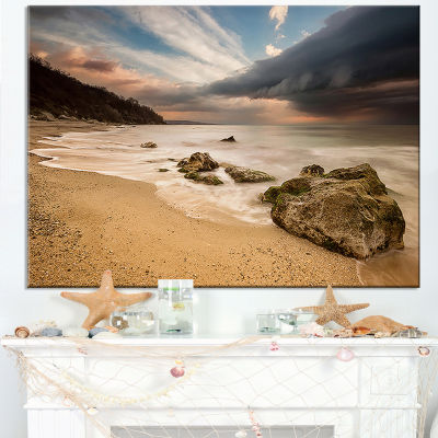 Designart Exotic Seashore With White Waves Canvas Art