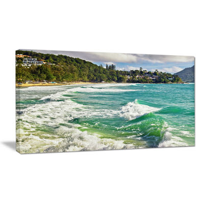 Designart Exotic Tropical Beach Blue Waters Canvas Art