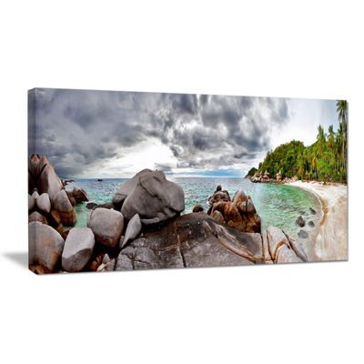 Designart Exotic Tropical Beach Under Blue Sky Canvas Art