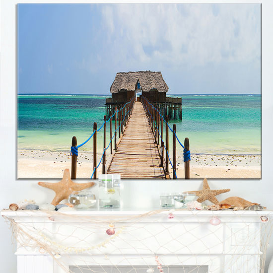 Designart Exotic Wood Jetty At Zanzibar Island Canvas Art