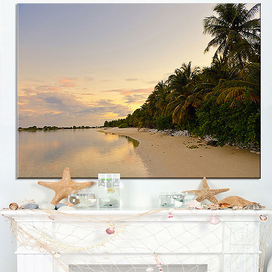 Designart Expansive Tropical Beach Evening Canvas Art