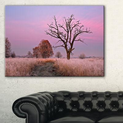 Designart Fairy Autumn Sunrise With Lonely Tree Canvas Art
