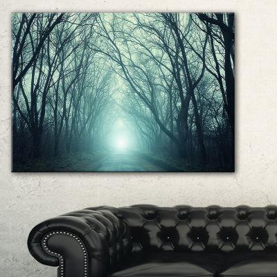 Designart Fall Forest Path With Green Light Canvas Art