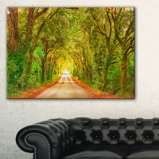 Designart Fall Greenery And Road Straight Ahead Canvas Art