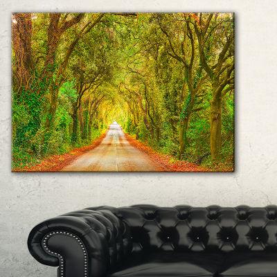Designart Fall Greenery And Road Straight Ahead Canvas Art