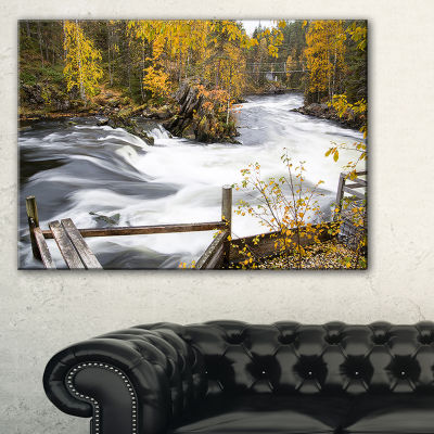 Designart Fall River Over Riffles And Rocks Canvas Art