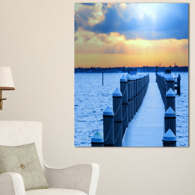 Designart Fantastic Blue Boardwalk And Seashore Canvas Art