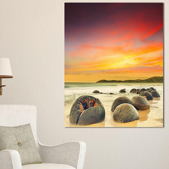 Designart Fantastic Moeraki Boulders View At Sunset Canvas Art