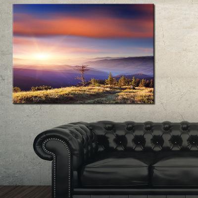 Designart Fantastic Sunrise And Dead Tree 3-pc. Canvas Art