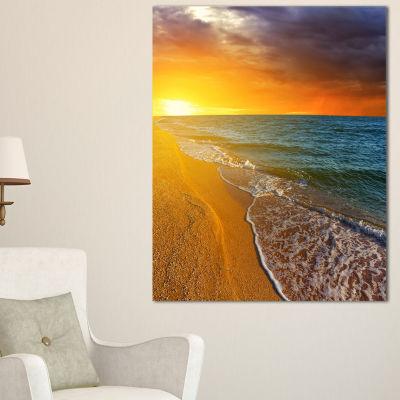 Designart Fantastic Yellow Sky In Blue Beach Canvas Art