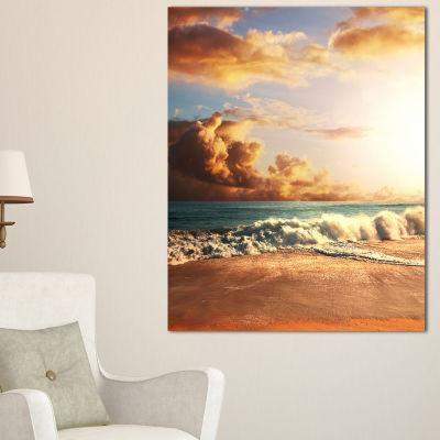 Designart Fast Moving Dark Clouds Over Beach Canvas Art