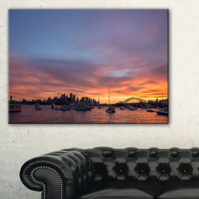Designart Ferry In Sydney Harbor At Sunset Canvas Art