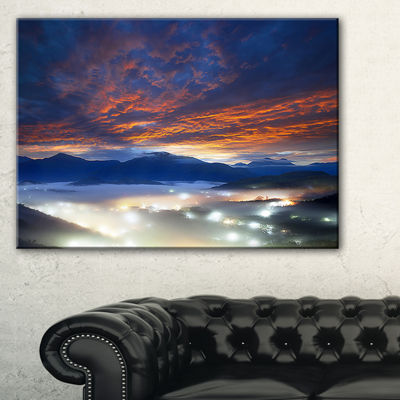 Designart Fiery Clouds And Lit Up Villages 3-pc. Canvas Art