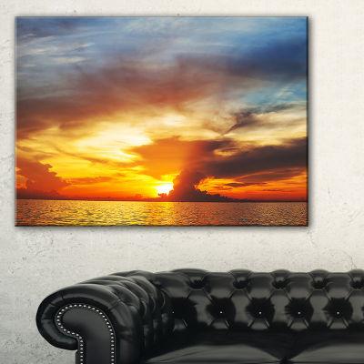 Designart Fiery Sky At Sunset Over Sea Canvas Art