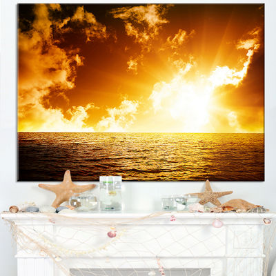 Designart Fiery Sunlight In Beach During Sunset Canvas Art