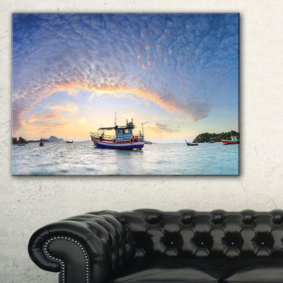 Designart Fishing Boat At Phuket Sunrise Beach Canvas Art