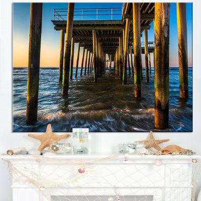 Designart Fishing Pier And Waves At Atlantic Sea Canvas Art