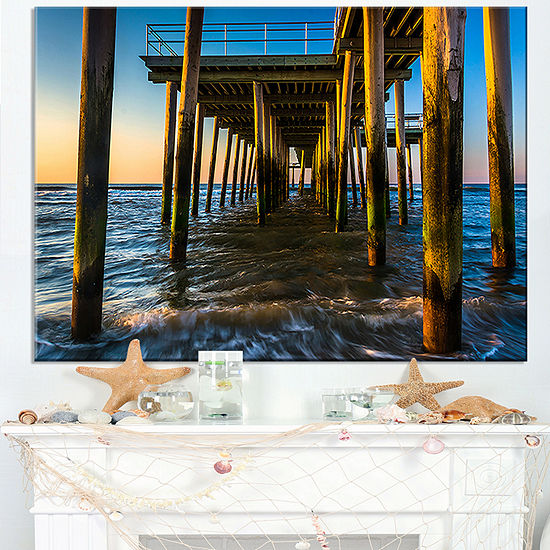 Designart Fishing Pier And Waves At Atlantic Sea Canvas Art