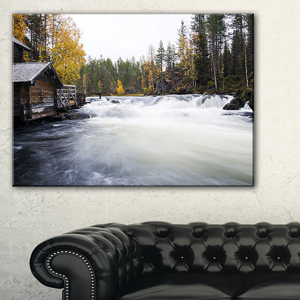 Designart Flowing River And Aged Watermill Canvas Art