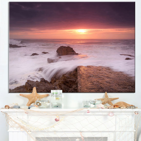 Designart Flowing Waves At Cable Shallow Coast Canvas Art