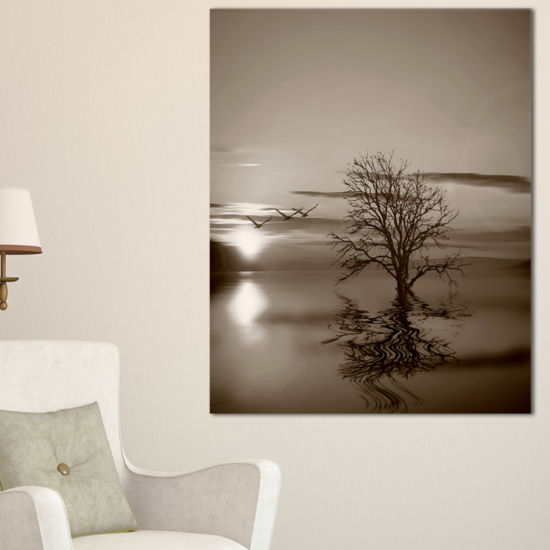 Designart Flying Birds And Lonely Tree Canvas Art