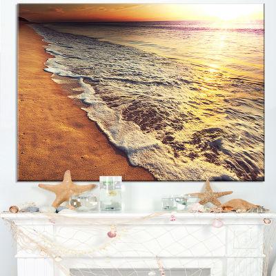 Designart Foaming Waves At Sea Sunset Canvas Art