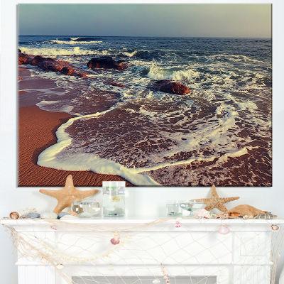 Designart Foaming Waves Kissing Wide Beach Canvas Art