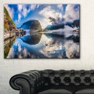 Designart Foggy Alpine Village Panorama Canvas Art