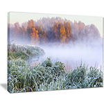 Designart Foggy Autumn Dawn Panorama Canvas Art