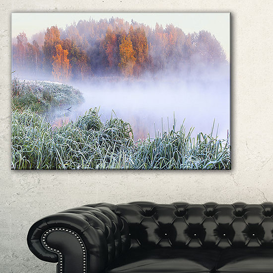 Designart Foggy Autumn Dawn Panorama Canvas Art