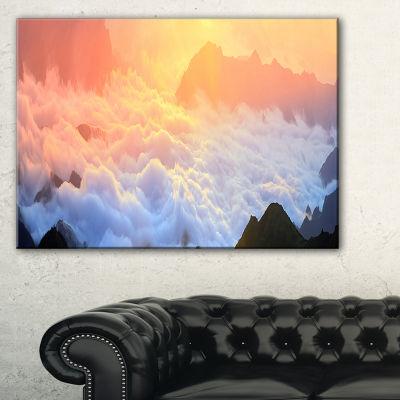 Designart Foggy Carpathian Hills Panorama Canvas Art