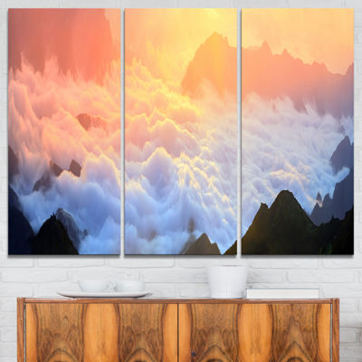 Designart Foggy Carpathian Hills Panorama 3-pc. Canvas Art