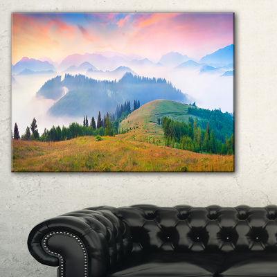 Designart Foggy Carpathian Panorama 3-pc. Canvas Art