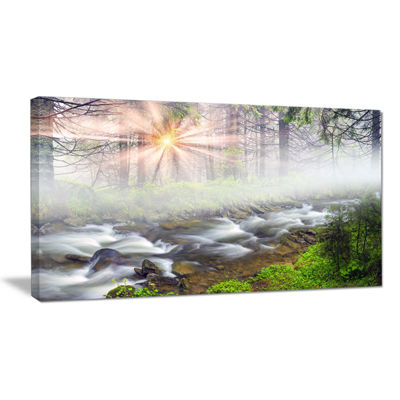 Designart Foggy Carpathian With Sunlight Canvas Art