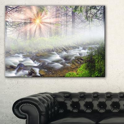 Designart Foggy Carpathian With Sunlight 3-pc. Canvas Art