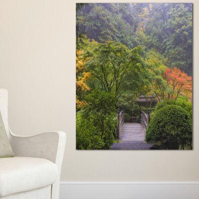 Designart Foggy Dawn In Japanese Garden Canvas Art